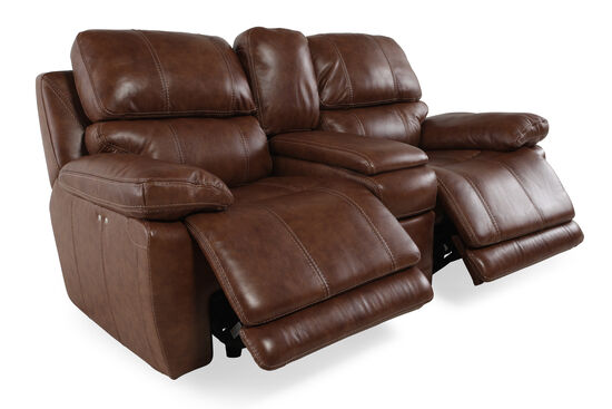 """Power Reclining Contemporary 81"""" Loveseat in Tumbleweed"""