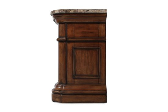 "32"" Traditional Serpentine Front Nightstand in Brown"