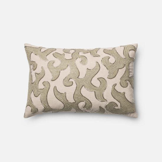 """Contemporary 13""""x21"""" Cover w/down pillow in White/Beige"""