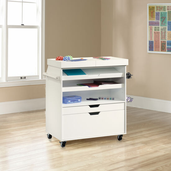 Slide-Out Top Contemporary Craft Cart in White