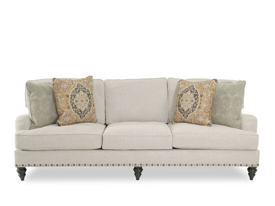 Traditional Nailhead Accented 99 Sofa In Cream Mathis Brothers Furniture