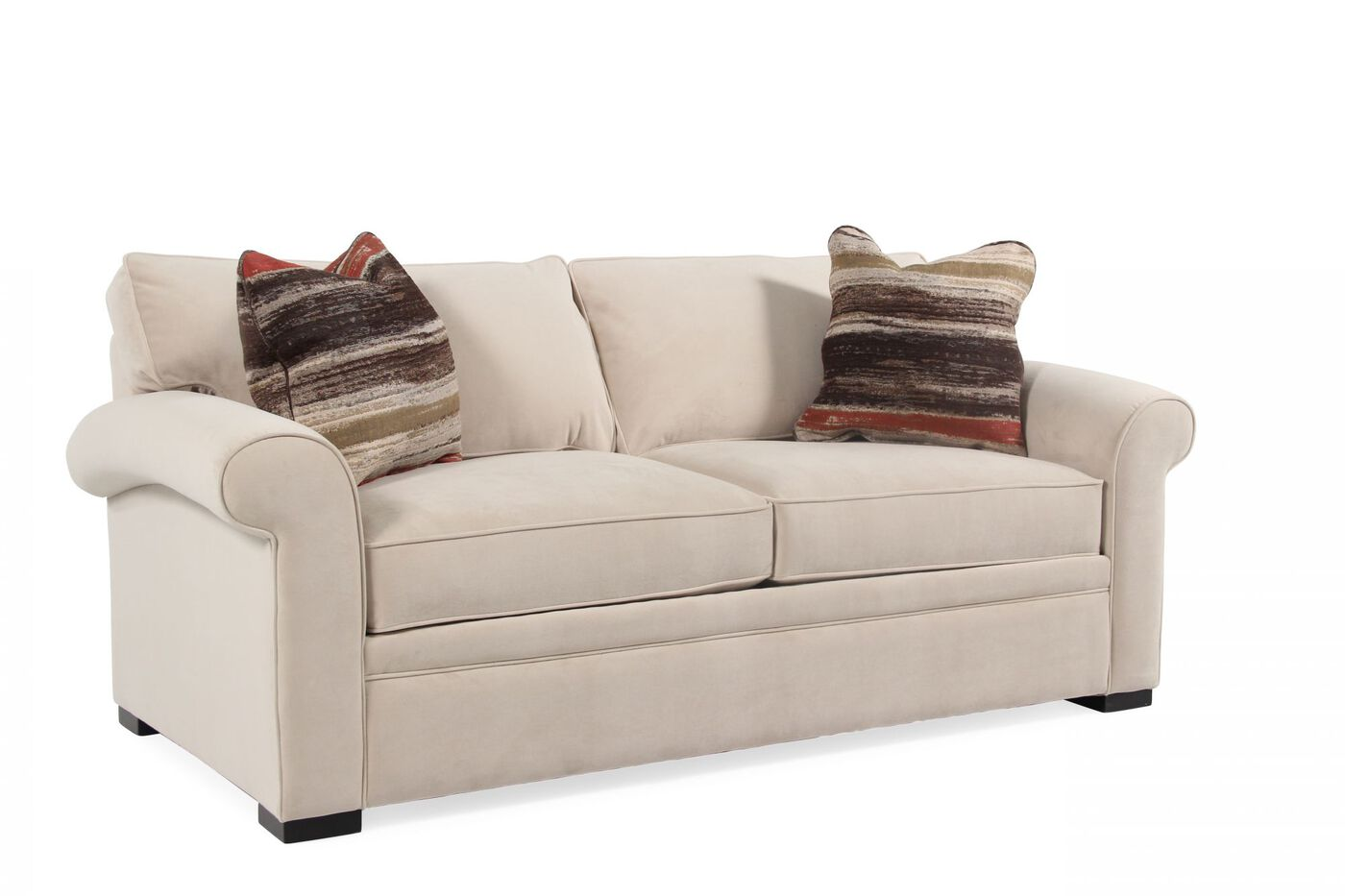 Transitional 38 Full Sleeper Loveseat In Cream Mathis Brothers Furniture