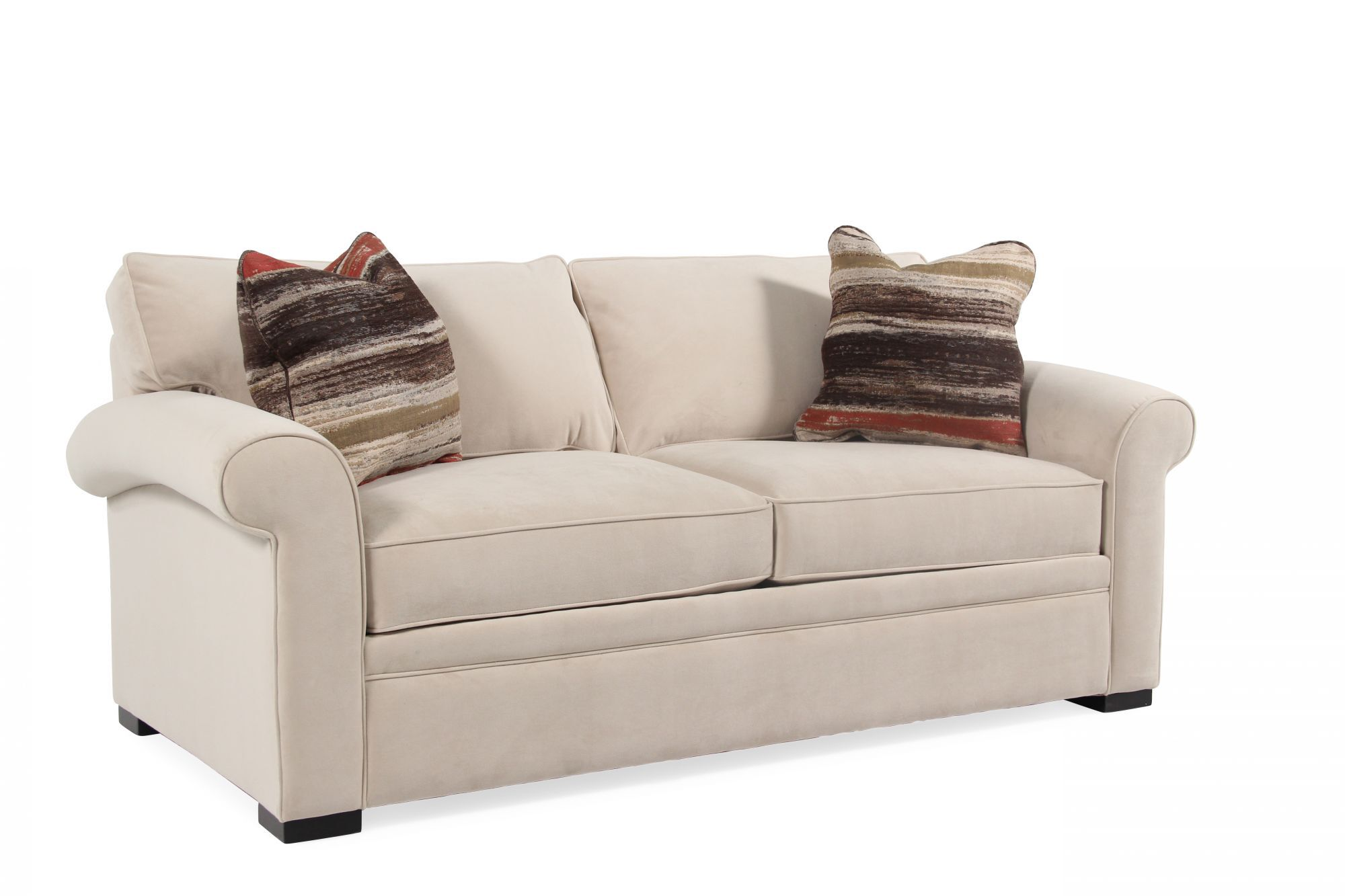 Cream Rolled Arm Transitional 38 Sleeper Sofa