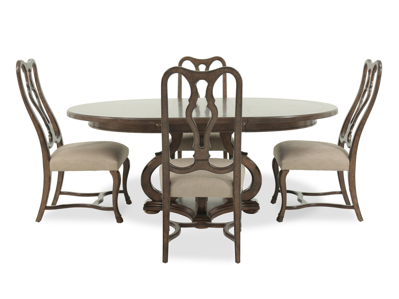 Five piece traditional round 78 39 39 dining set in dark oak for Traditional round dining room sets