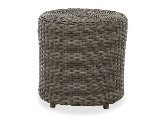 Round Contemporary Woven Patio End Table in Dark Gray
