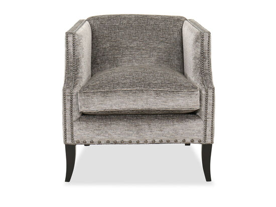 """29.5"""" Contemporary Nailhead-Trimmed Chair in Silver"""