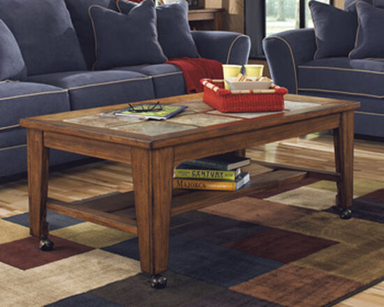 Rectangular Contemporary Cocktail Table in Rustic Brown