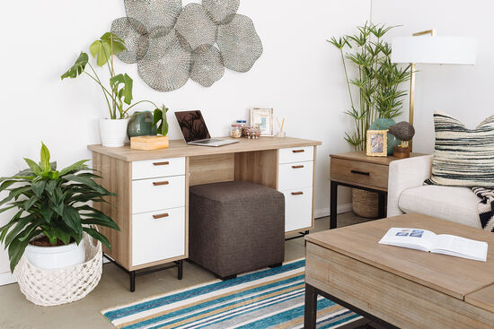 "35.5"" Modern Six-Drawer Executive Desk in Sky Oak / White"