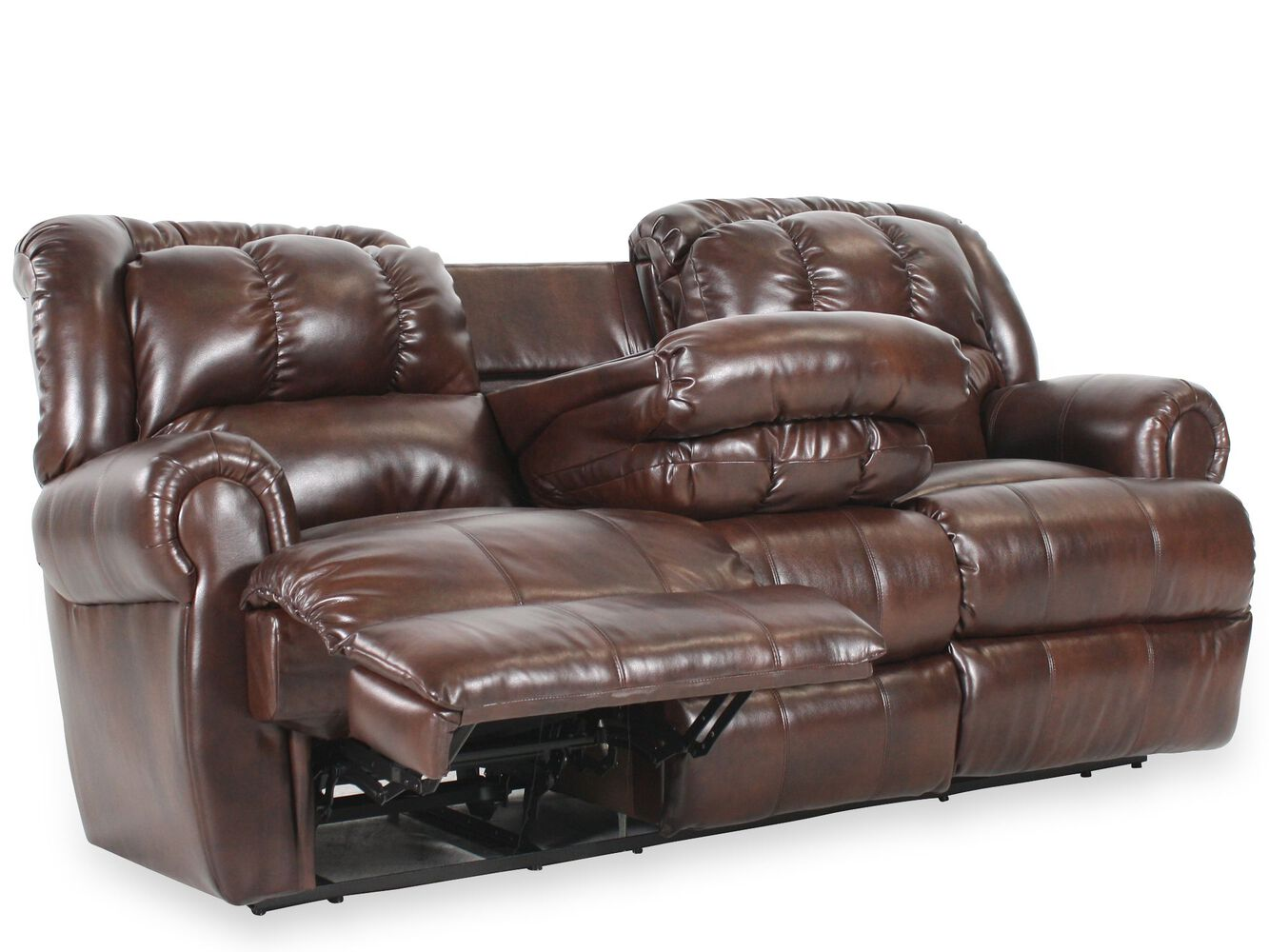 Tufted 88 reclining sofa with drop down table in brown mathis tufted 88 reclining sofa with drop down table geotapseo Choice Image