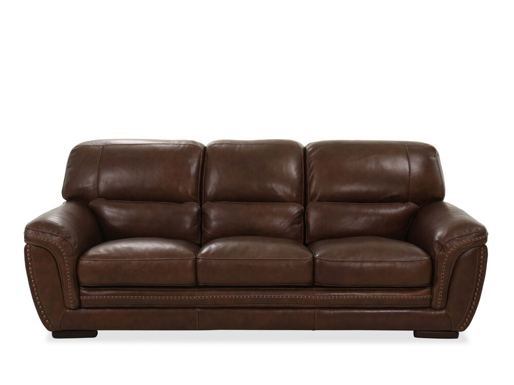 Nailhead-Trimmed Leather Sofa in Brown | Mathis Brothers ...