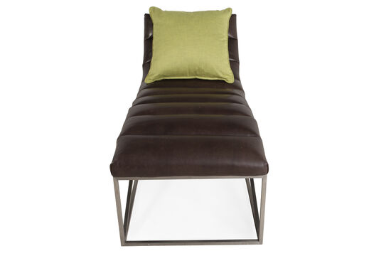 Leather Contemporary Chaise in Deep Bronze