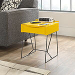 Contemporary One-Drawer Side Table in Yellow Saffron