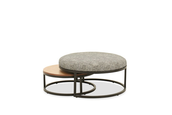 Two-Piece Round Nesting Ottomans in Charcoal Gray