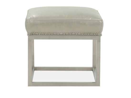 """Nailhead Accented Contemporary 19"""" Leather Footstool in Beige"""