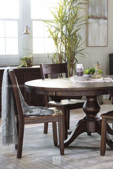"Rustic Farmhouse 48"" to 66"" Round Solid Pine Table in Dark Pine"