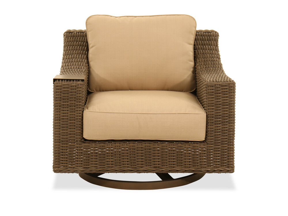 Swivel Glider Club Chair in Aged Teak