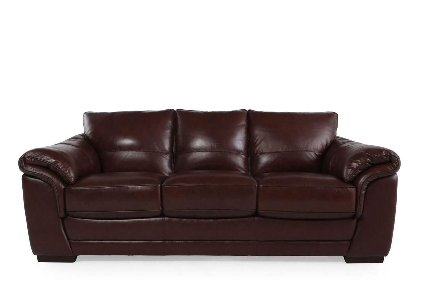 Contemporary 37 leather sofa in dark brown mathis brothers furniture Contemporary leather sofa