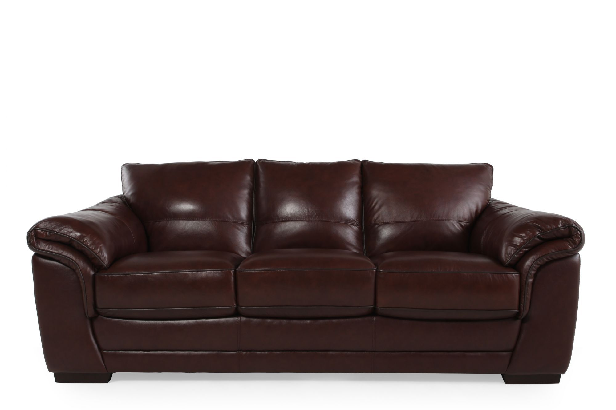 contemporary 37 leather sofa in dark brown mathis brothers furniture. Black Bedroom Furniture Sets. Home Design Ideas