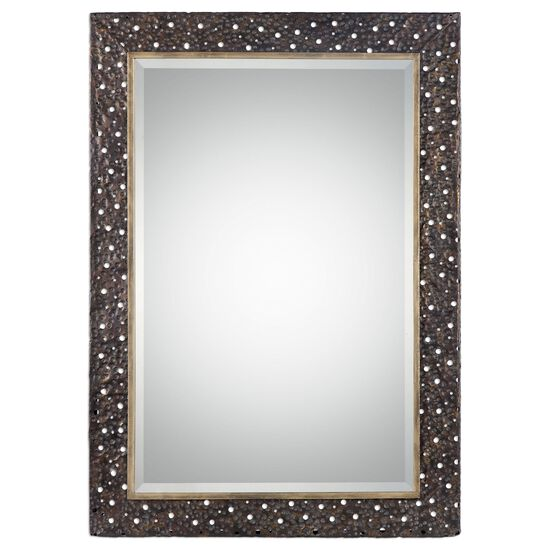 "42"" Pierced Hammered Frame Mirror in Dark Bronze"