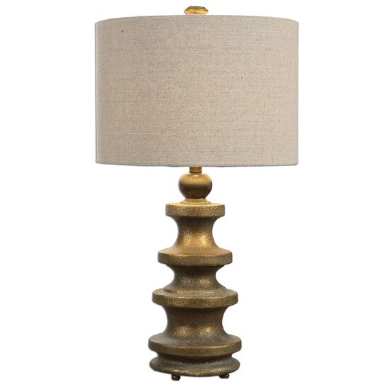 Tiered-Tower Lamp in Antique Gold