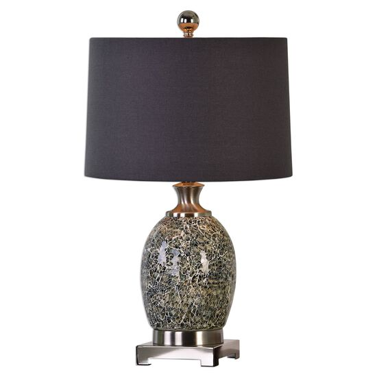 Crackled Glass Table Lamp in Taupe Gray