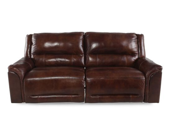 Leather Power Reclining Sofa In Saddle Brown Mathis