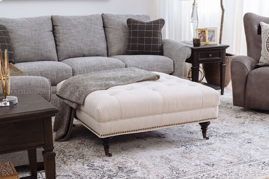 "Contemporary 41"" Tufted Ottoman in White"