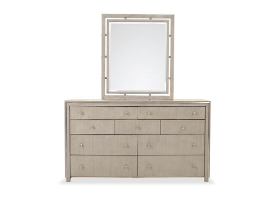Contemporary Nine-Drawer Dresser and Mirror in Grey Oak