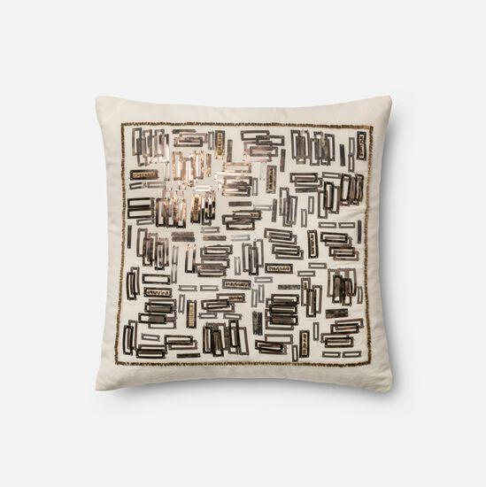 """Contemporary 18""""x18"""" Cover w/Down Pillow in White/Gold"""