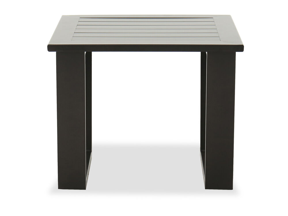Casual Plank Top Patio End Table in Brown