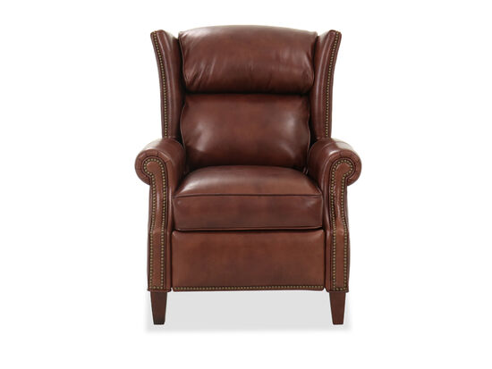 "33"" Leather Pressback Recliner in Brown"