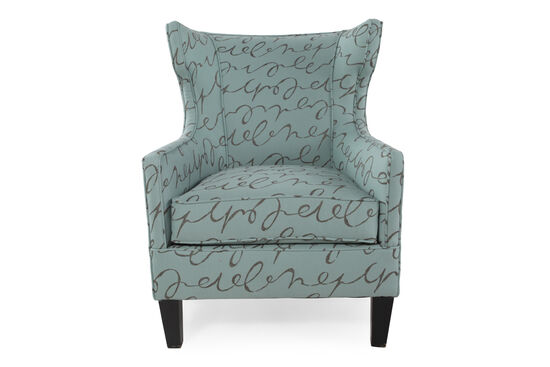"Wing-Back Contemporary 31"" Chair in Sea Green"