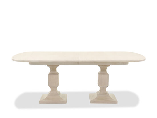 """Contemporary Pedestal 84"""" to 124"""" Dining Table in Oatmeal"""