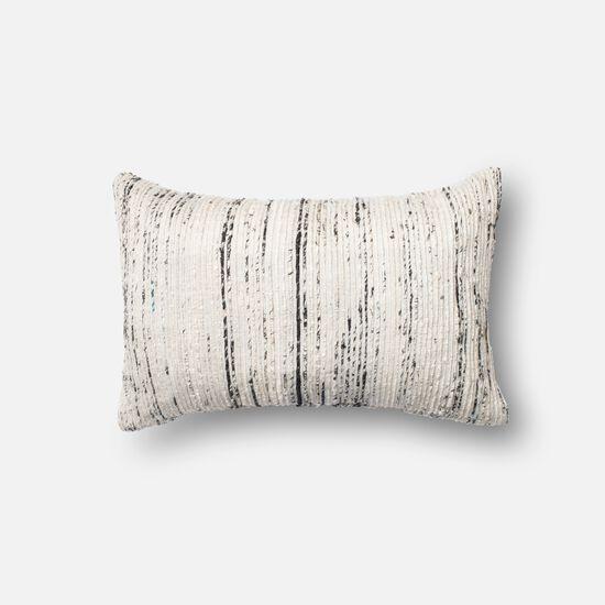 """Contemporary 13""""x21"""" Cover w/Down Pillow in Silver/Multi"""