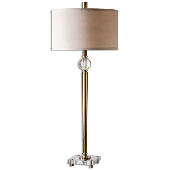 Tapered Base Crystal-Accent Buffet Lamp in Brushed Brass