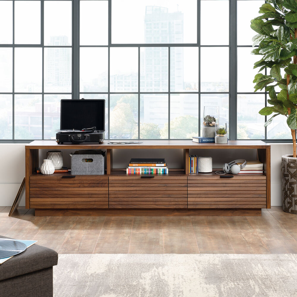 Slatted Accent Contemporary Entertainment Credenza in Grand Walnut