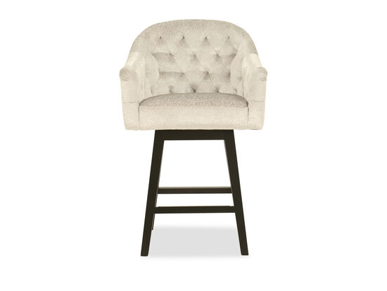 Contemporary Tufted Counter Stool in Cream