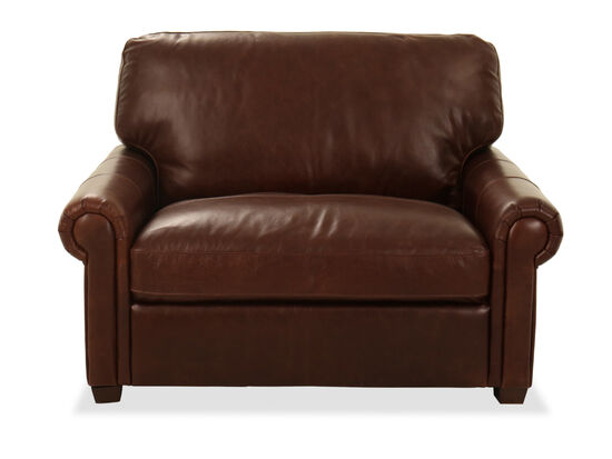 """52"""" Rolled Arm Leather Chair in Chocolate"""