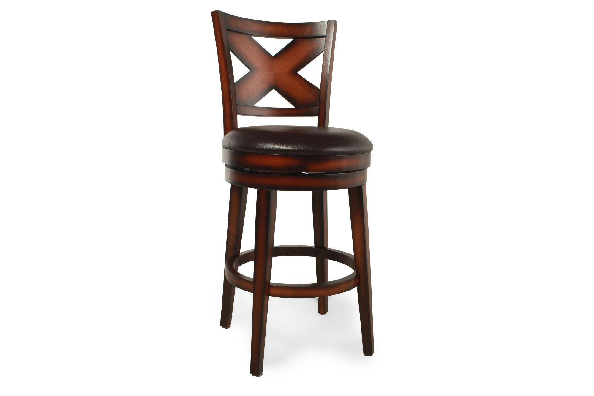 X Back 45 Quot Bar Stool In Medium Brown Mathis Brothers