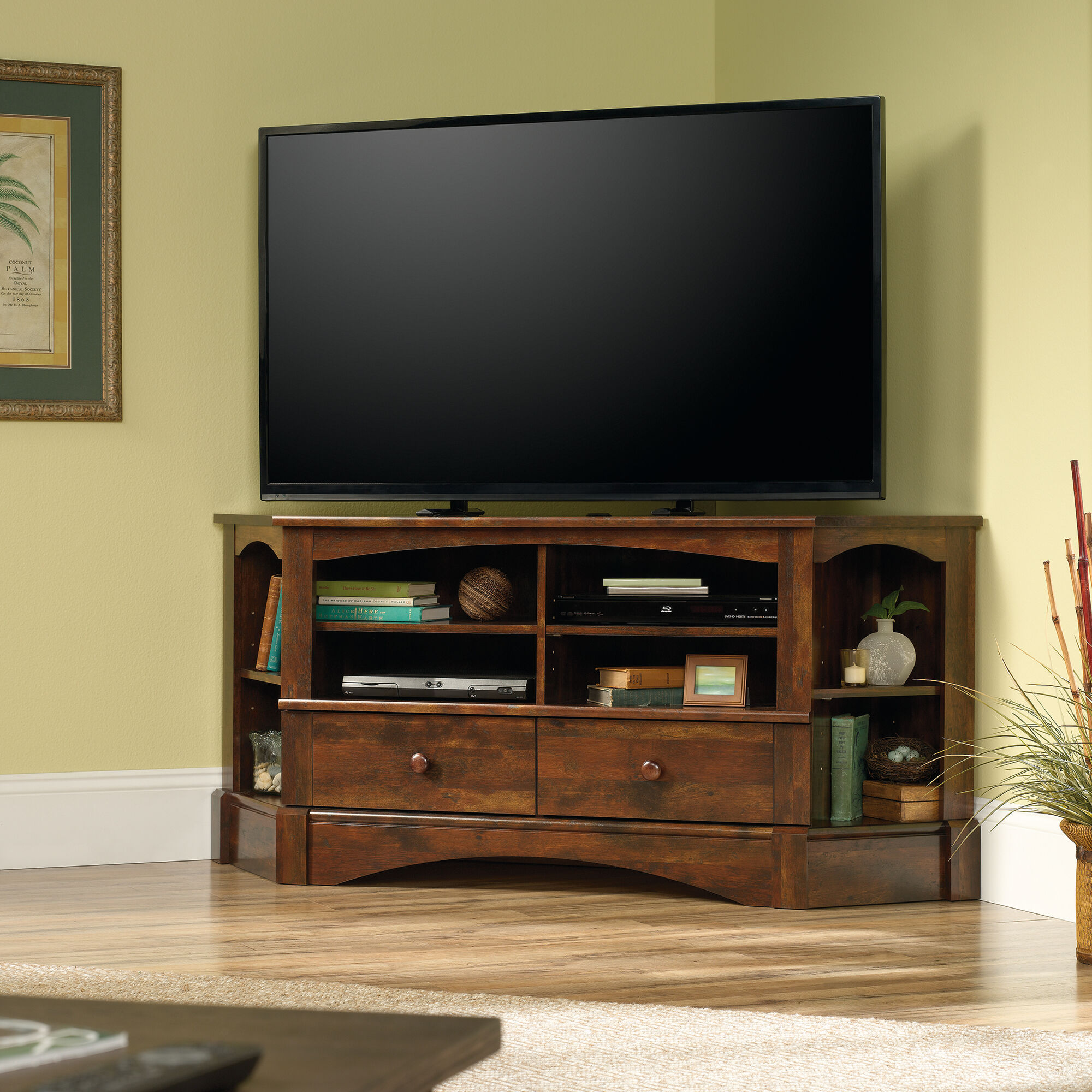 Two Corner Shelf Contemporary Entertainment Credenza In Curado Cherry Mathis Brothers Furniture