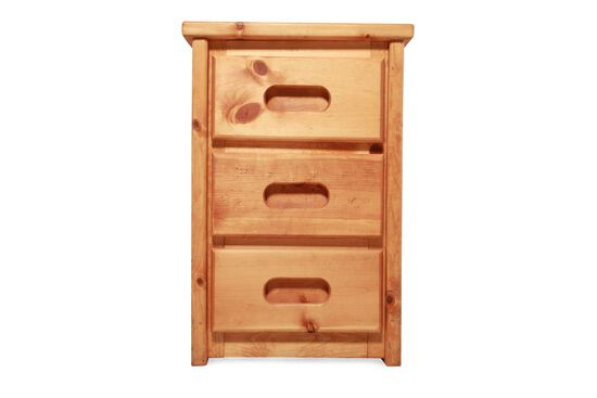 Solid Pine Three-Drawer Youth Nightstand in Cinnamon