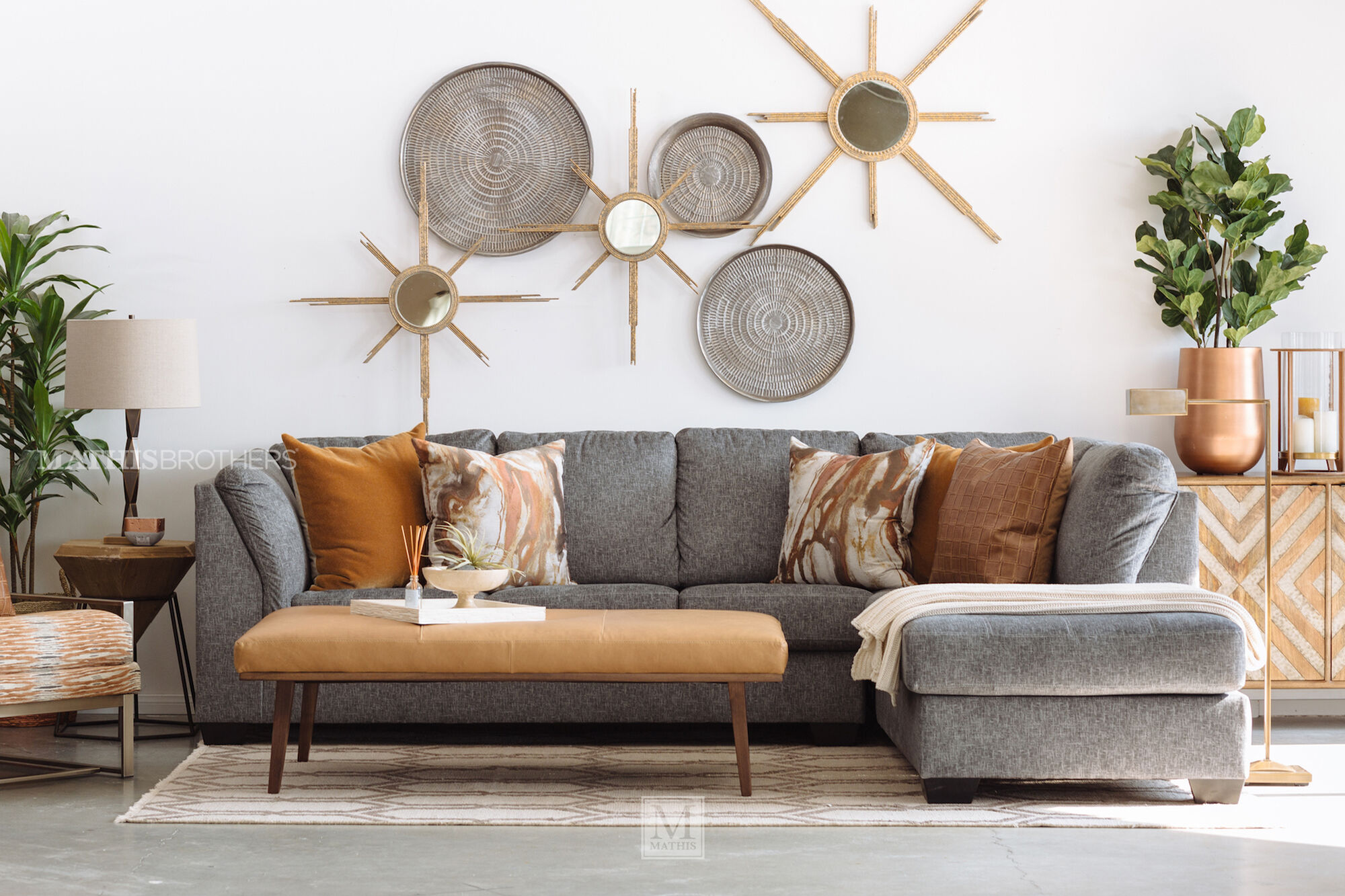 two piece contemporary sectional in gray mathis brothers furniture. Black Bedroom Furniture Sets. Home Design Ideas