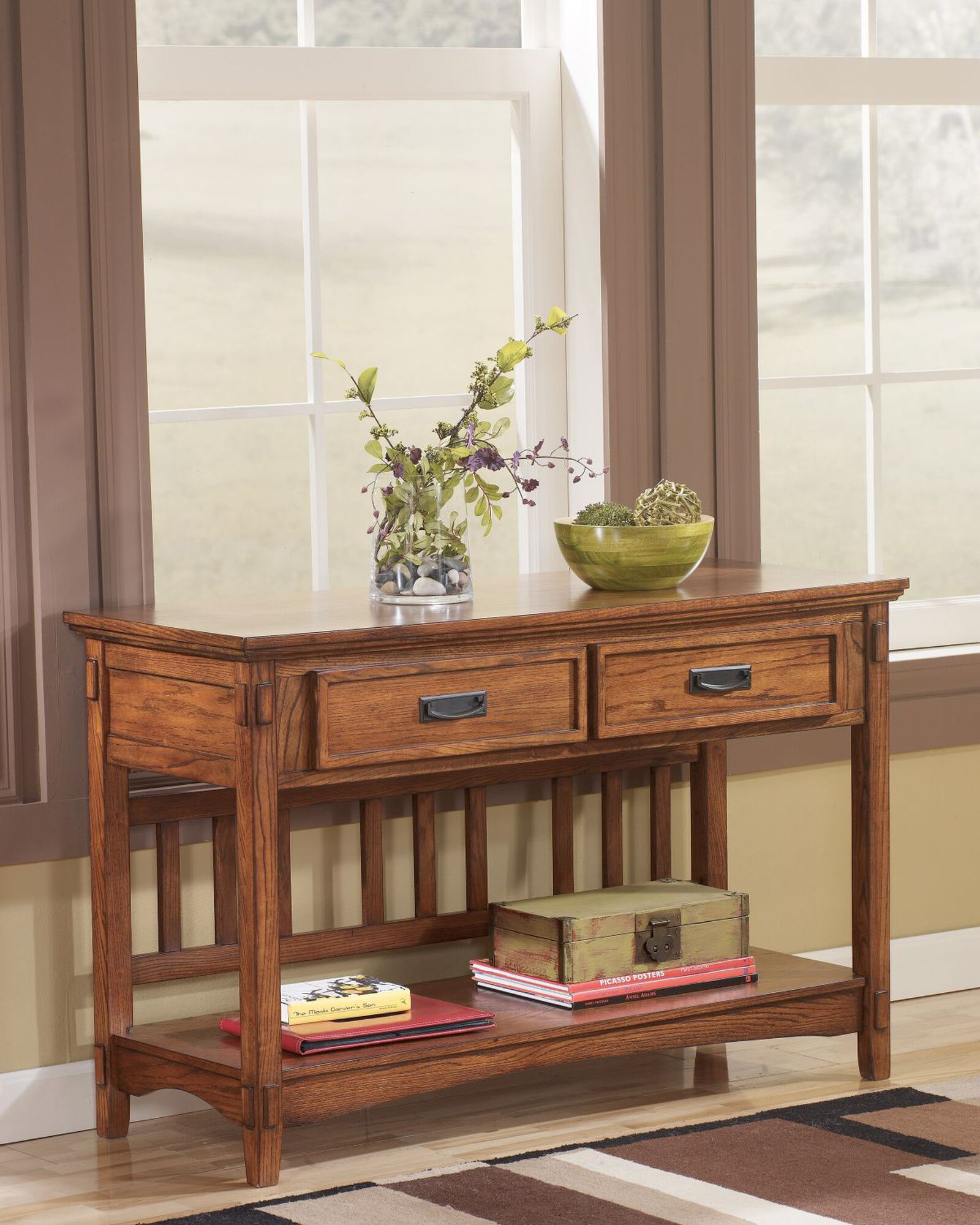 Lighted End Tables Living Room Furniture: Two-Drawer Mission Console Table In Light Oak