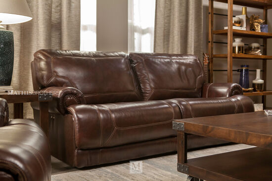 """Leather Reclining 86"""" Sofa in Brown"""