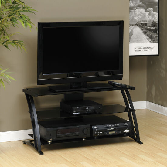Tempered Glass Contemporary Panel TV Stand in Black