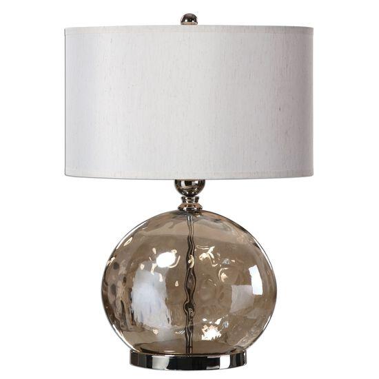 Oval Hardback Shade Iridescent Water Glass Lamp in Beige
