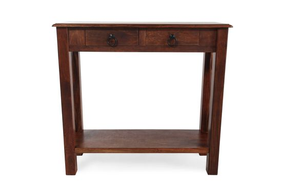 Two-Drawer Casual Console Table in Warm Brown