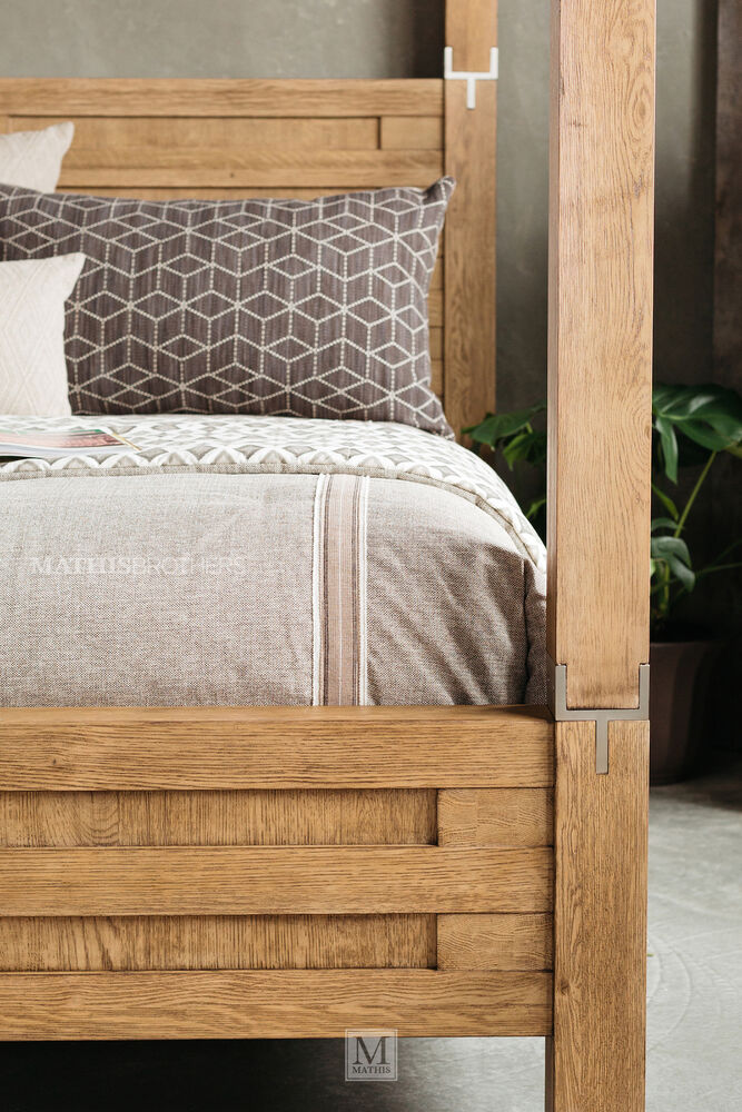 Four piece modern canopy bedroom set in brown mathis for Bedroom 4 piece set