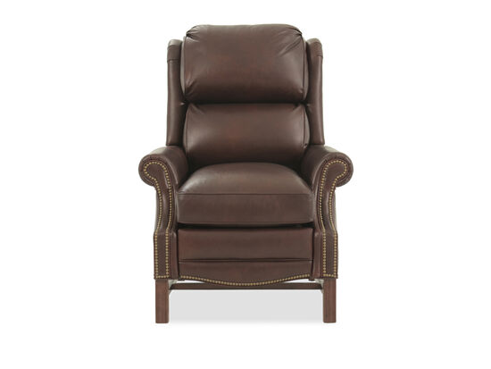 "Leather Splitback 36.5"" High Leg Reclining Lounger in Brown"