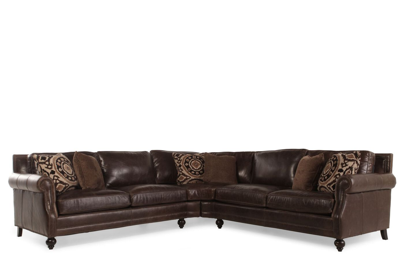 Two Piece Leather 119 Quot Sectional In Dark Brown Mathis